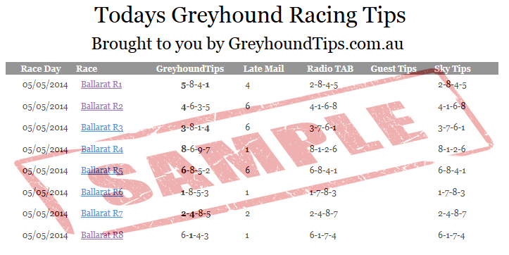 Sample Greyhound Racing Tips